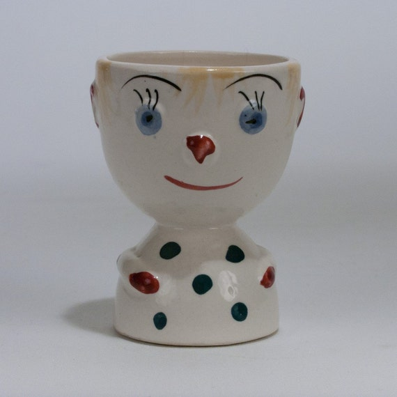 Vintage Japanese Ceramic Egg Cup Boy