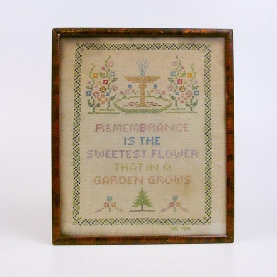 Vintage 1934 Primitive Embroidered Sampler