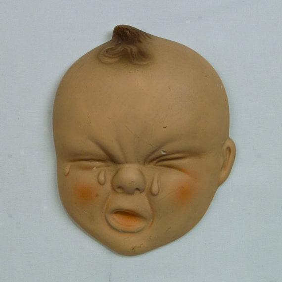 Vintage Chalkware Crying Baby Face