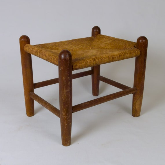 Vintage Camp and Cabin Kids Woven Rush and Wood Mid Century Stool