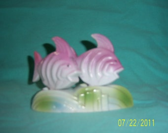 Vintage 1950's ceramic pair of fishes salt & pepper shakers