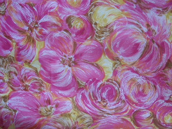 vintage silky fabric, 2 1/3 yards, 44 inches wide, pink floral