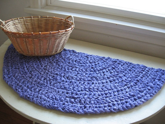 half moon crocheted rag rug or table mat, upcycled lavender fabric