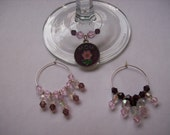 Mother's Day pink and purple wine glass charms Free Shipping
