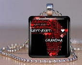 Grandmother/Sayt Ayat Amharic Ethiopian Personalized Glass Tile Pendant