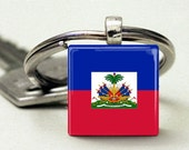 Birth Country Flag Glass Tile Pendant Keychain or Necklace
