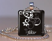 Fikir (Love in Amharic) Ethiopian Pendant - Your Choice of Color, Font, Design and Personalization
