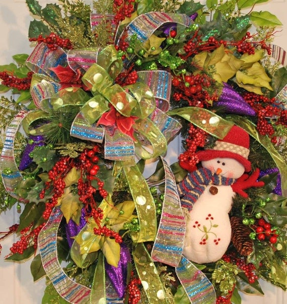 XL Frosty the Snowman Christmas Door Wreath, Many Colors, So Sweet