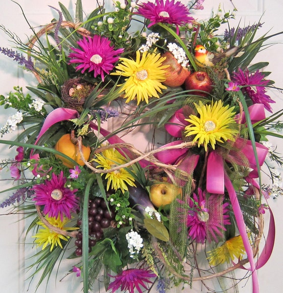 XL Door Wreath Filled With Many Blossoms, So Bright, Bold, and Beautiful