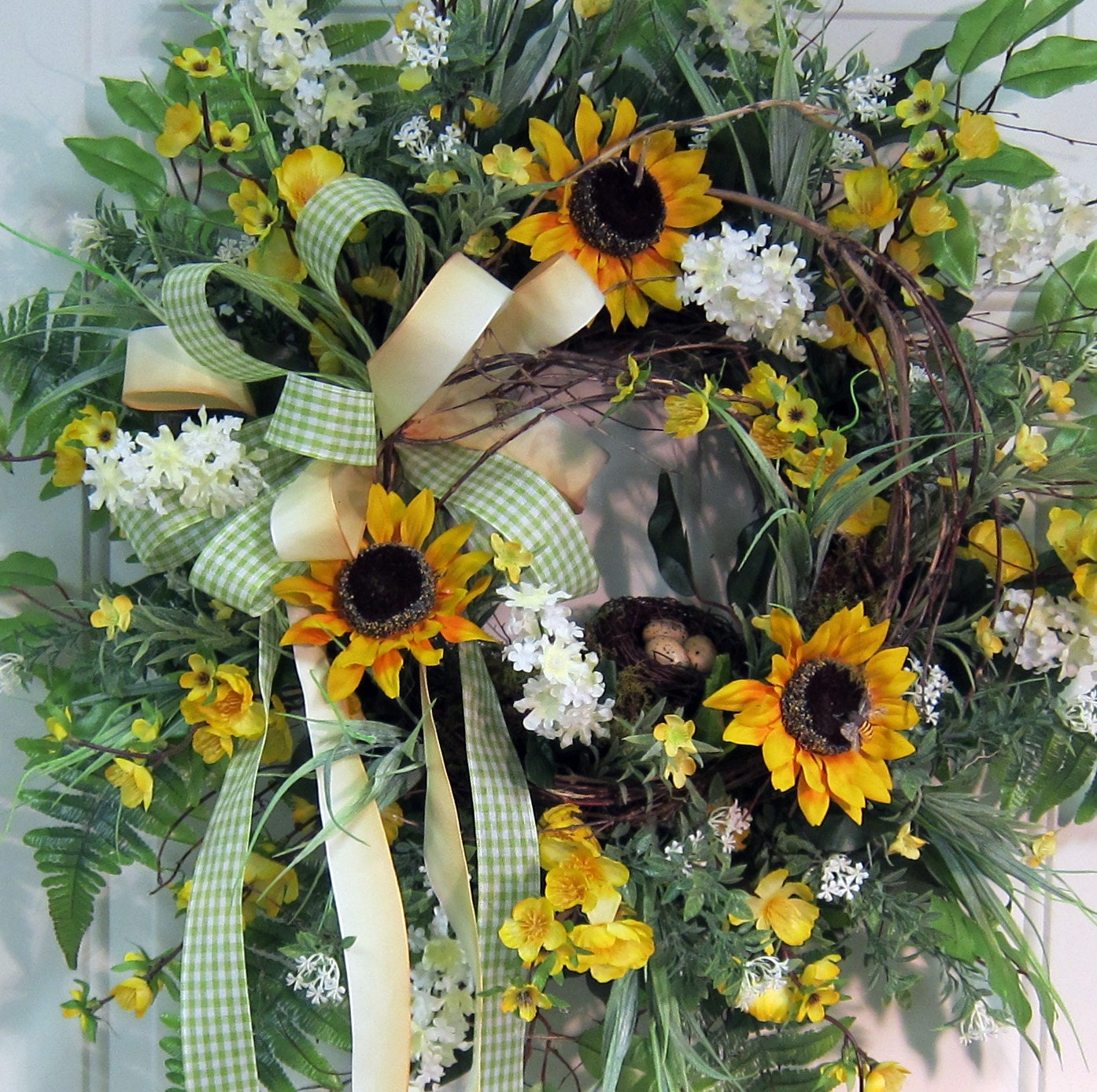 Large Full Door Wreath With Bold Sunflowers White Blossoms