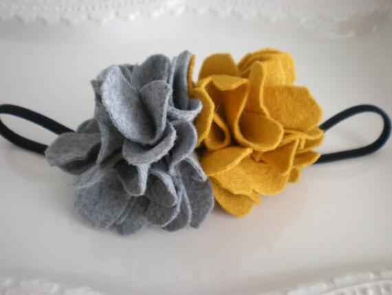 the Kate headband (mustard&grey ruffled peony)