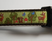 "Dog Collar- Forest Friends- Deer, Squirrel, Trees 3/4"" wide"