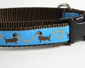 Wiener Dog Collar- Dachshund Hot Dog Love Blue