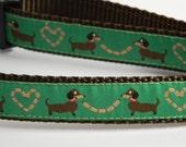 "Wiener Dog Collar- Dachshund Hot Dog Love Green 3/4"" wide"