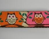 "Owl Key Fob- Cute Hoot Pink & Orange  1"" Wide"