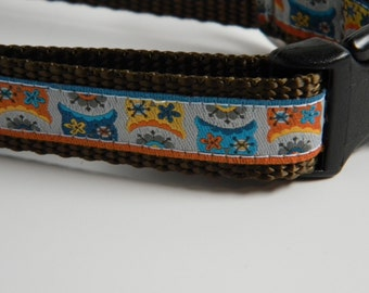"Owl Dog Collar- Folk Art Owls 3/4"" wide"