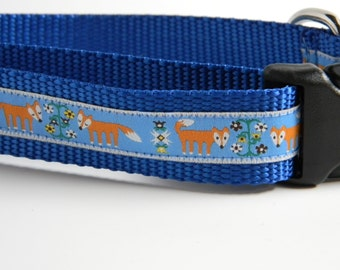 Fantastic Fox Dog Collar- Blue