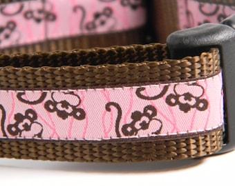 "Dog Collar- Pink Monkeys 1"" Wide"
