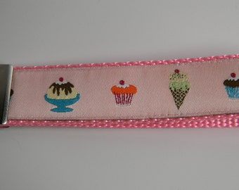 "Pink Ice Cream & Cupcakes Key Fob- 1"" Wide"