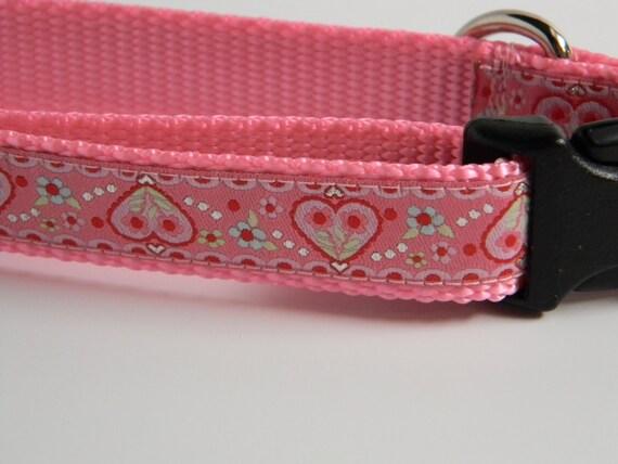 "Dog Collar- Pink Hearts - 1"" wide"