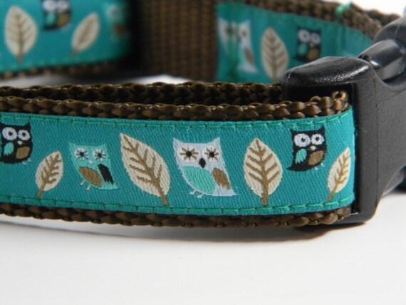 Owl Dog Collar- Teal Night Owls