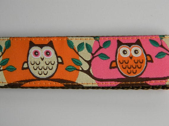 "Owl Key Fob- Cute Hoot Pink & Orange  1"" Wide"