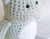 "Crochet kitty cat - stuffed animal - gray 10"" tall"