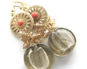 Earrings - vintage gold piece, smoky jet glass discs, and colored crystal cluster