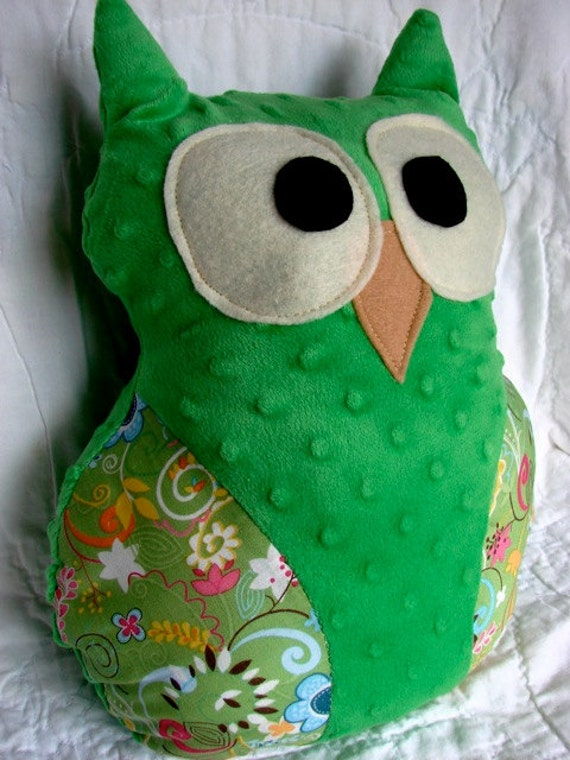 Owl Pillow: Green with Floral Print