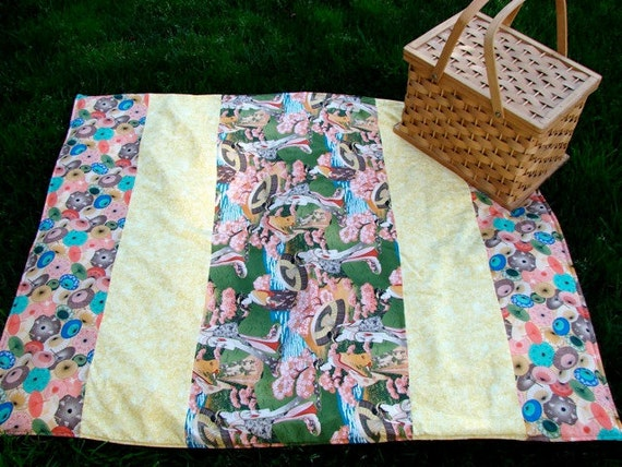 Picnic Blanket in Asian Parasol for Outdoors Fun