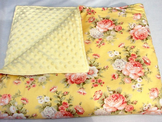 Baby Bedding: Yellow with Pink Roses Blanket
