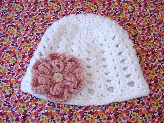 Adult White Crocheted Beanie Hat with Pink Flower Ready To Ship - Women's Hat
