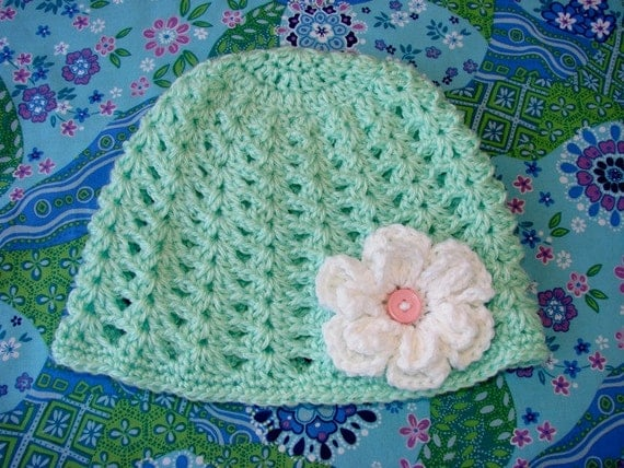 Mint Green Crochet Beanie Hat with White Flower Ready to Ship SIZE Child 3-10 years