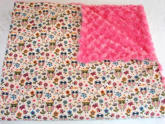 Baby Bedding: Hot Pink with Pastel Owls Blanket, Summer weight