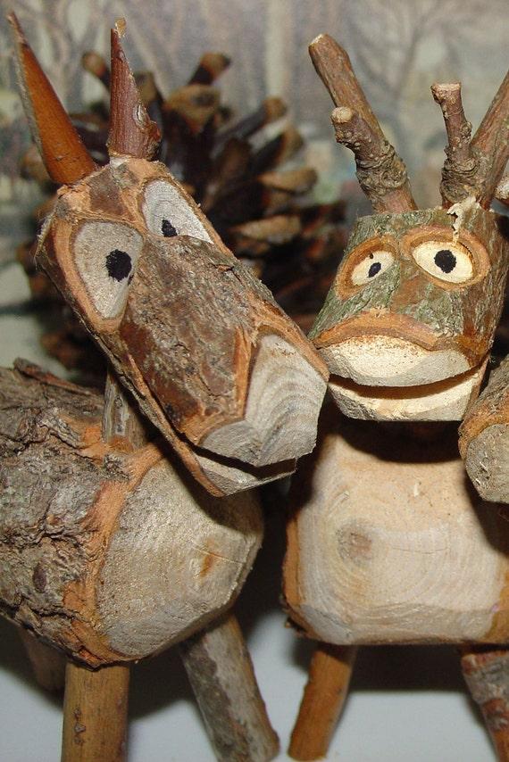 Carved Rustic Wood Reindeer