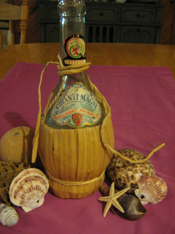 Vintage Chianti Magni glass wine bottle with twine wrap 1970 red wine bottle