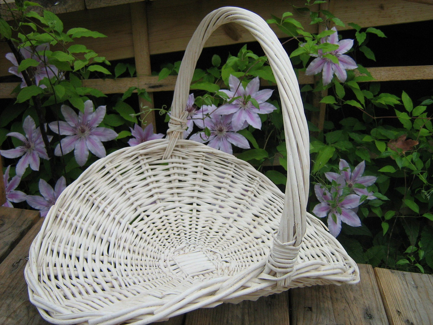 Rattan Flower Baskets : Vintage white wicker flower gathering basket by