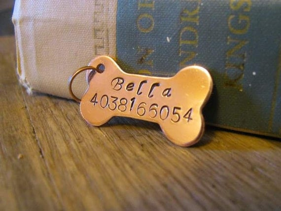Hand stamped copper id identification pet tag