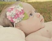 Baby Headband Felt Flower Headband Infant Headband Hydrangea Headband Toddler Headband