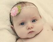 Felt Flower Headband Baby Headband Pink Headband Infant Headband Newborn Headband