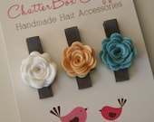 Baby Hair Clips Petite Rosebuds in Yellow, Blue and White Wool Felt Baby Alligator Clips Infant Toddler Girls