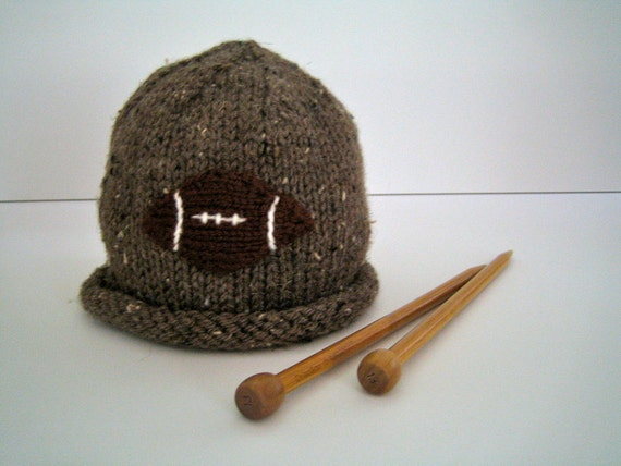 Toddler Boy's Knit Hat with FOOTBALL Hat in Brown Tweed 12-24 months, Handknit Children's Hat, Superbowl, Football Fan, Little Boy's Hat