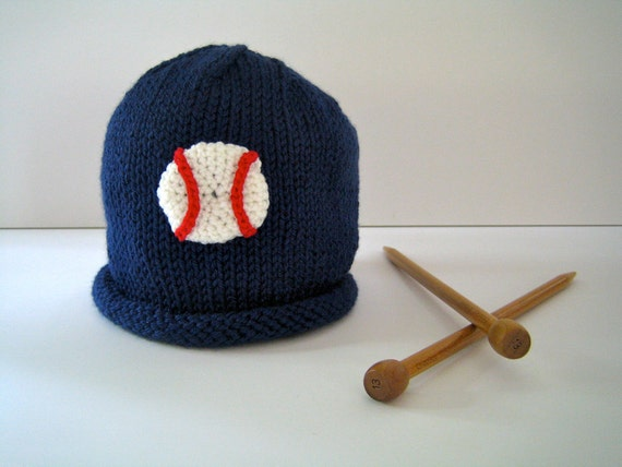 Knit Baby BASEBALL Hat, Infant Boy, Sports Fan, Navy Blue Handknit, Newborn, Baby Shower, Infant hat