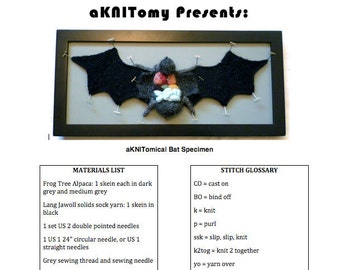 Knitted Dissected Bat Specimen PDF Pattern
