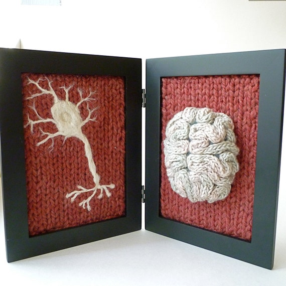 Neurological Study in Wool - Antique Red Background