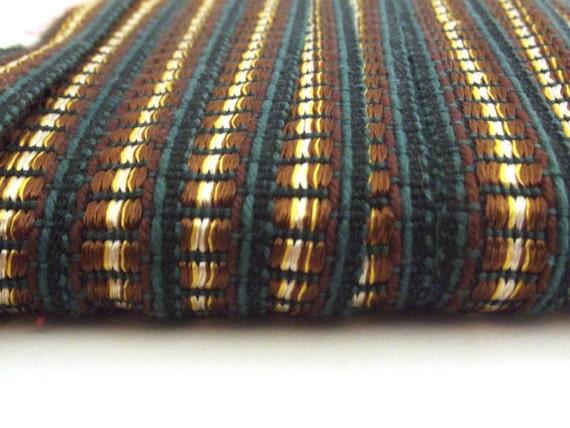Green & Brown French Vintage woollen trim 30 yards