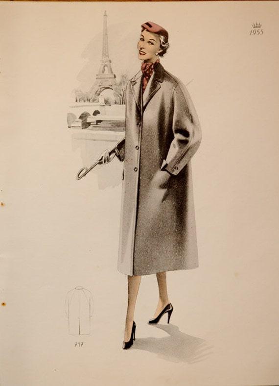 Special Christmas Price Original Vintage French Fashion 1955  print with Eiffel Tower