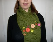 olive green button scarf