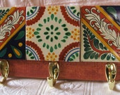 Spanish Tile Funky Key/Clothes/Purse/Etc Wall Hanging with Hooks