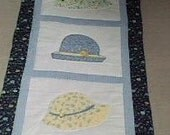 Hats...Appliqued  Yellow and Blue   Wall Hanging